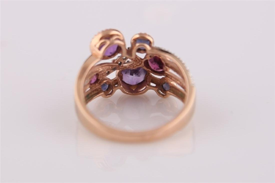 14kt Rose Gold, Purple Stones, Diamonds Ring - 6