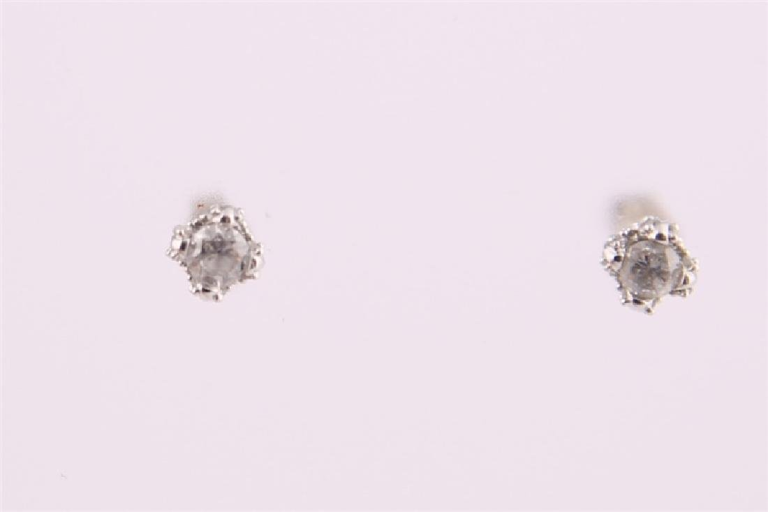 14kt White Gold Diamond Stud Earrings - 3