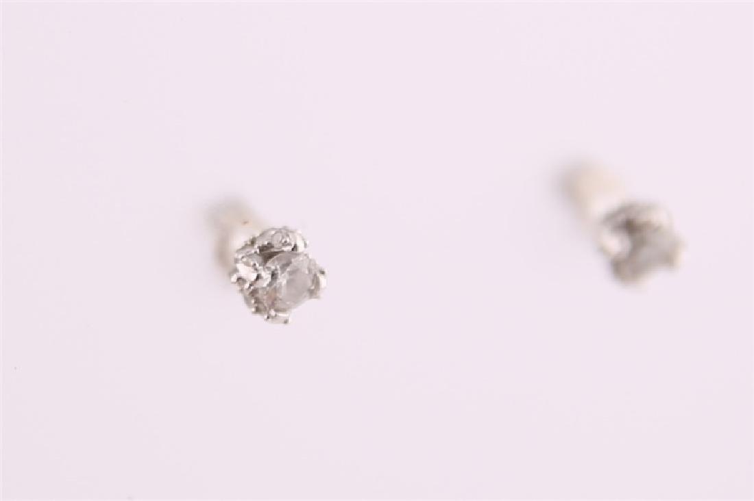 14kt White Gold Diamond Stud Earrings - 7