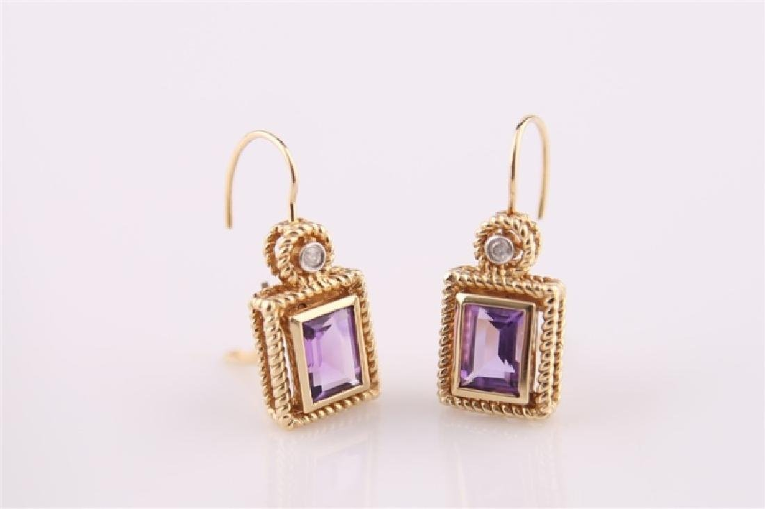 14kt Yellow Gold Amethyst and Diamond Earrings