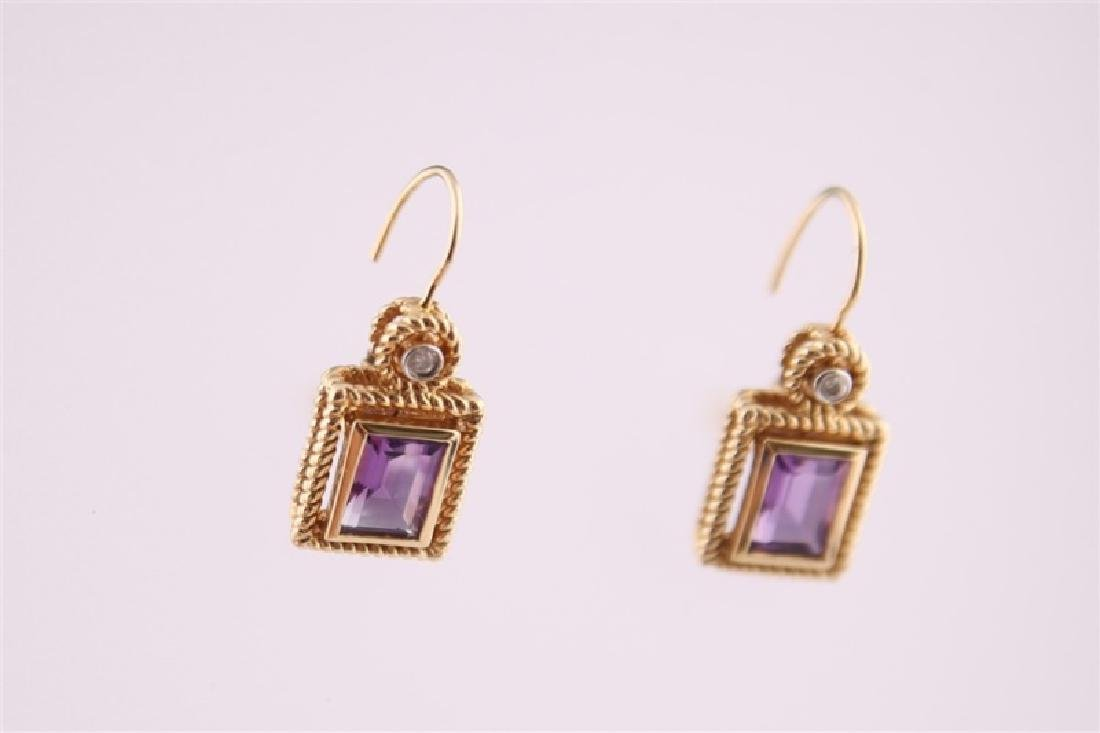14kt Yellow Gold Amethyst and Diamond Earrings - 3