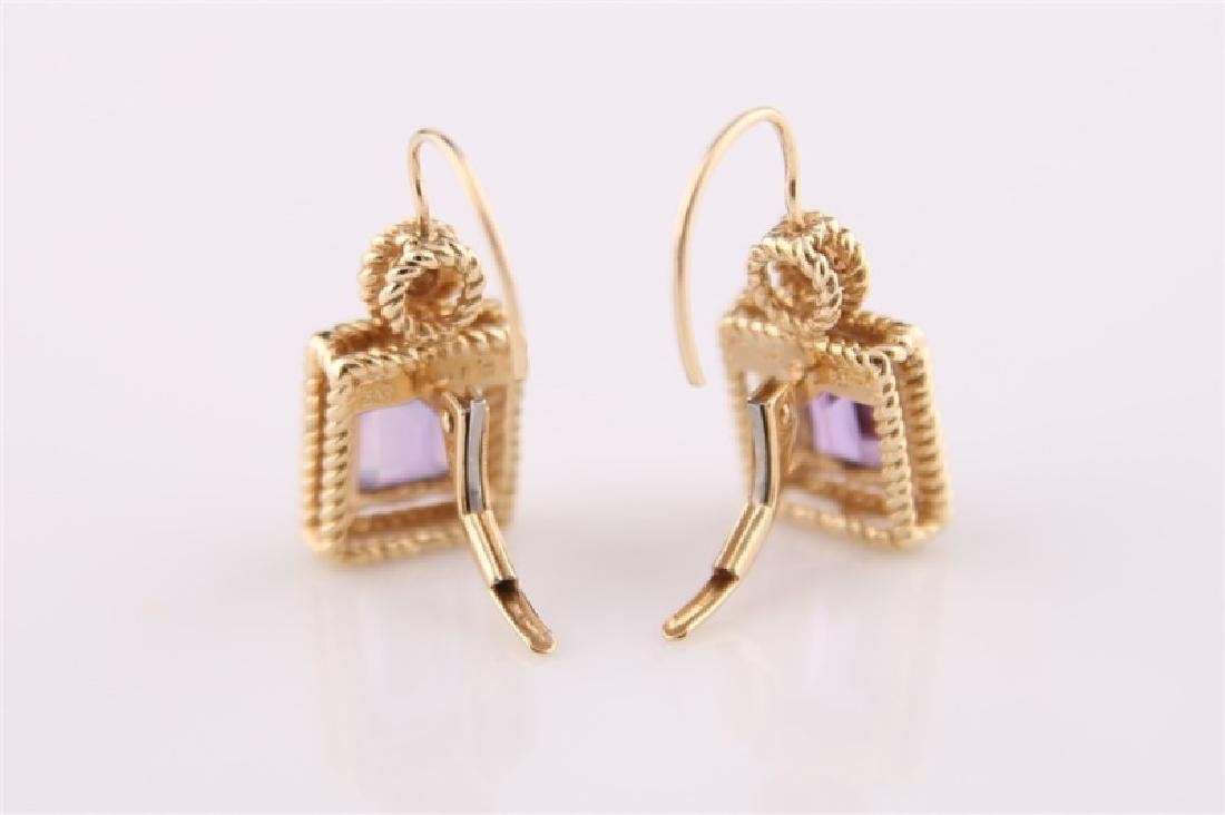 14kt Yellow Gold Amethyst and Diamond Earrings - 5