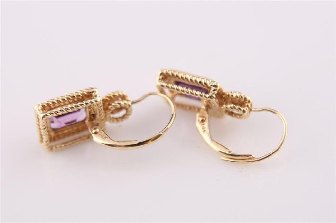 14kt Yellow Gold Amethyst and Diamond Earrings - 6
