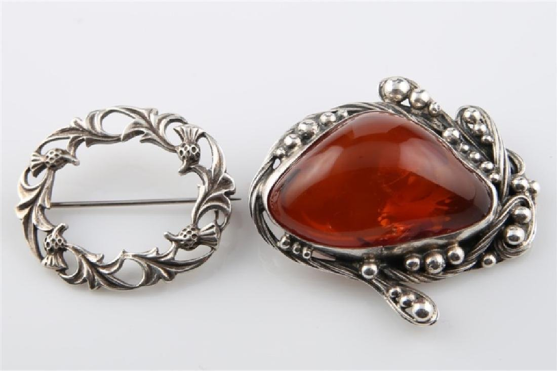 Sterling Silver and Amber Brooch with Other Brooch