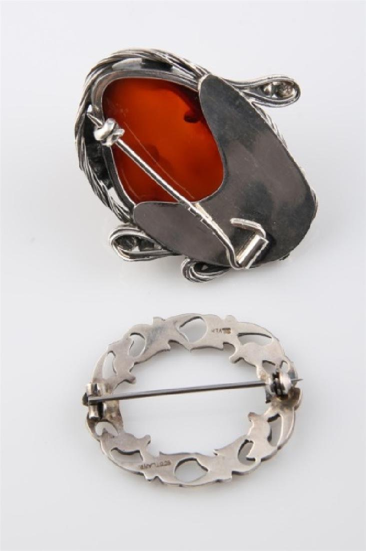 Sterling Silver and Amber Brooch with Other Brooch - 2