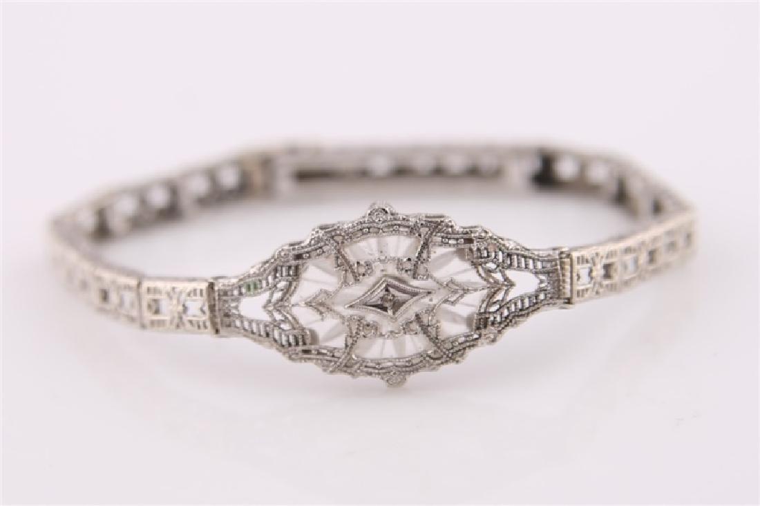10kt White Gold Filligree Bracelet