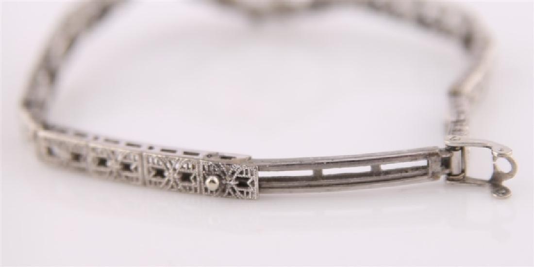 10kt White Gold Filligree Bracelet - 4