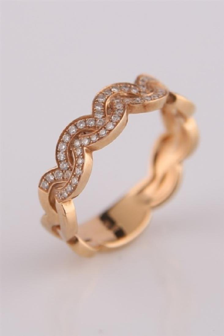 18kt Rose Gold Ring with Diamond Clusters