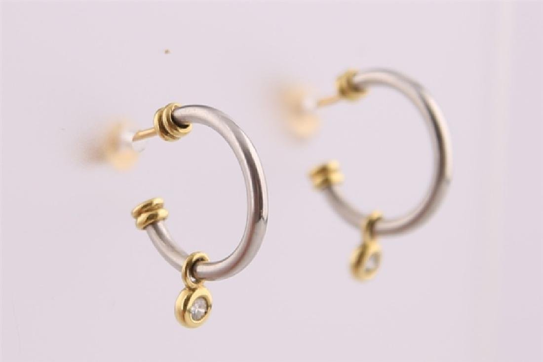 18kt White and Yellow Gold Earrings with Diamond