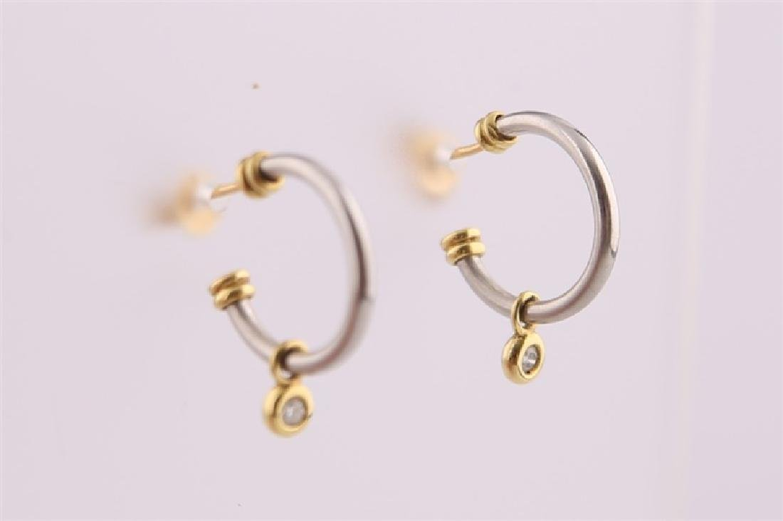 18kt White and Yellow Gold Earrings with Diamond - 3