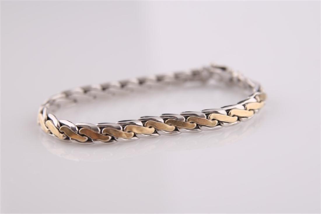 14kt White Gold Two-Tone Link Bracelet - 2