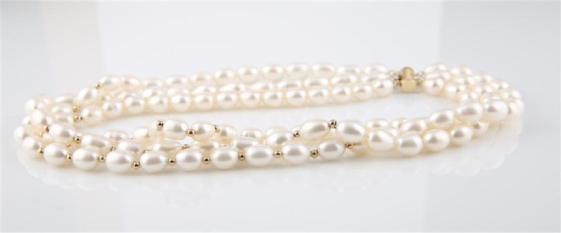 14kt Yellow Gold Three Strand Pearl Necklace