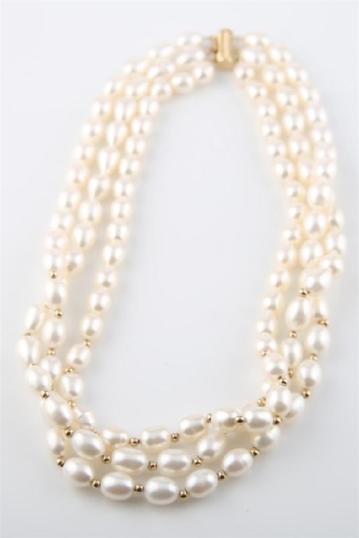 14kt Yellow Gold Three Strand Pearl Necklace - 3