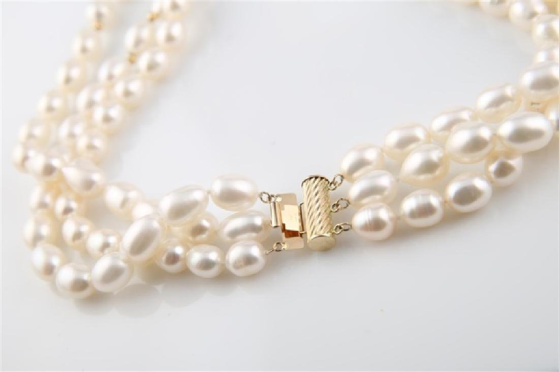 14kt Yellow Gold Three Strand Pearl Necklace - 4