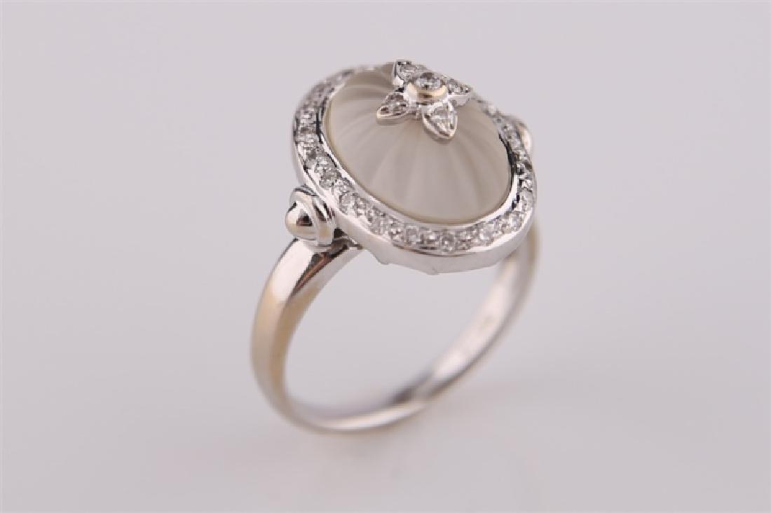 18kt White Gold, Diamond, and Carved Quartz Ring
