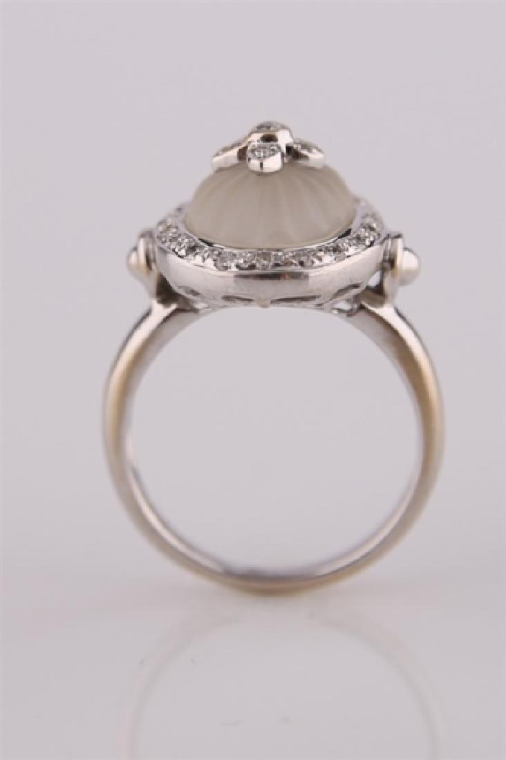 18kt White Gold, Diamond, and Carved Quartz Ring - 2