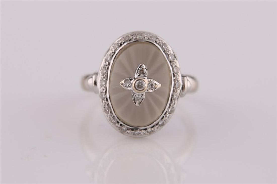 18kt White Gold, Diamond, and Carved Quartz Ring - 5