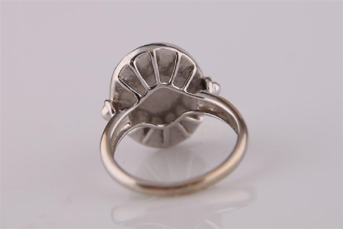 18kt White Gold, Diamond, and Carved Quartz Ring - 6