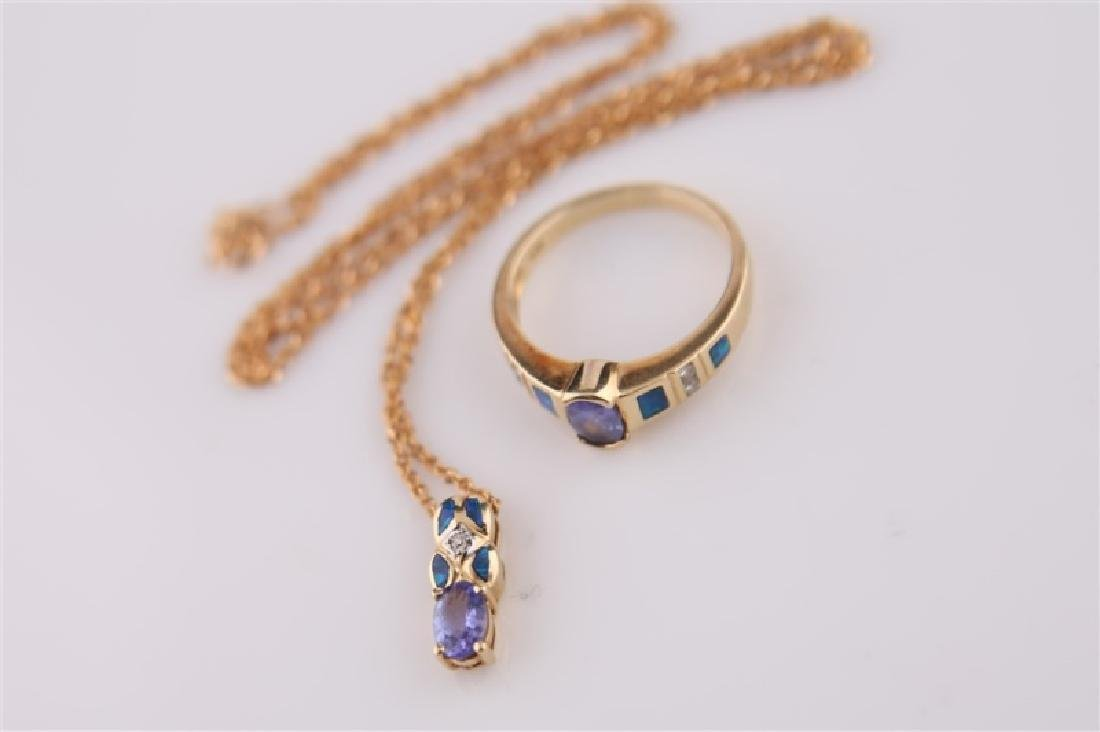 14kt LeVian Yellow Gold, Opal Necklace and Ring - 10