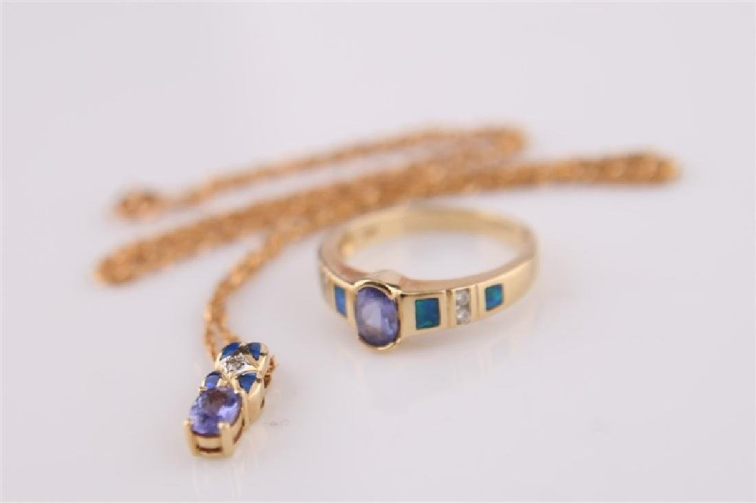 14kt LeVian Yellow Gold, Opal Necklace and Ring