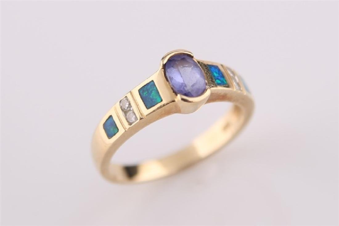 14kt LeVian Yellow Gold, Opal Necklace and Ring - 2