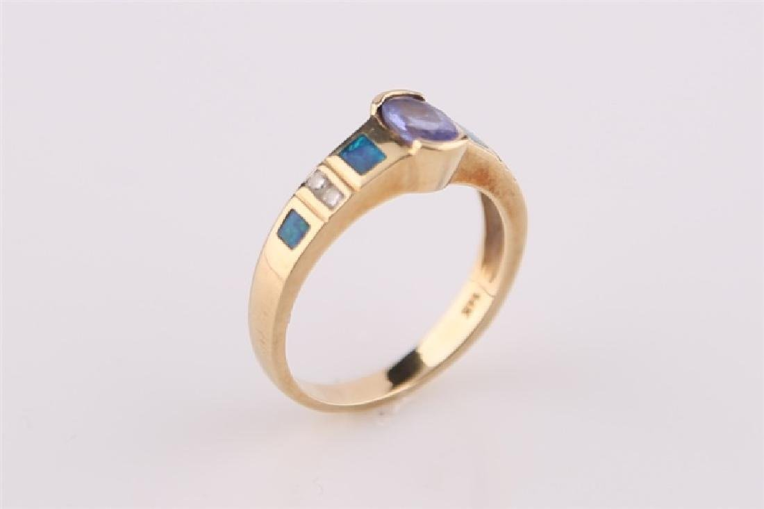 14kt LeVian Yellow Gold, Opal Necklace and Ring - 3