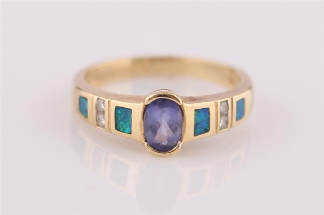 14kt LeVian Yellow Gold, Opal Necklace and Ring - 4