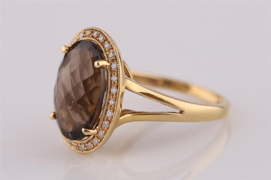 18kt Yellow Gold, Diamond, Smoky Quartz Ring