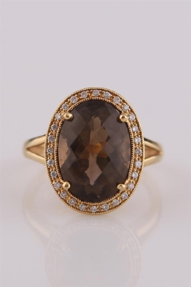 18kt Yellow Gold, Diamond, Smoky Quartz Ring - 2