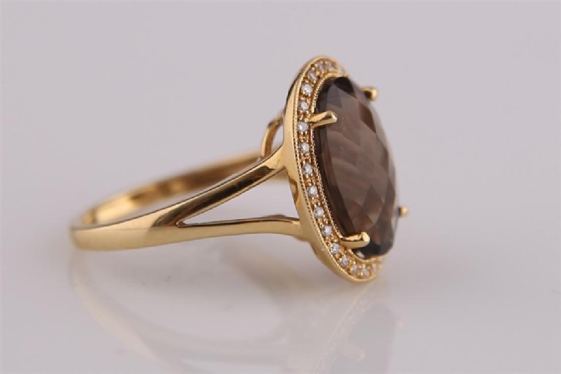 18kt Yellow Gold, Diamond, Smoky Quartz Ring - 3