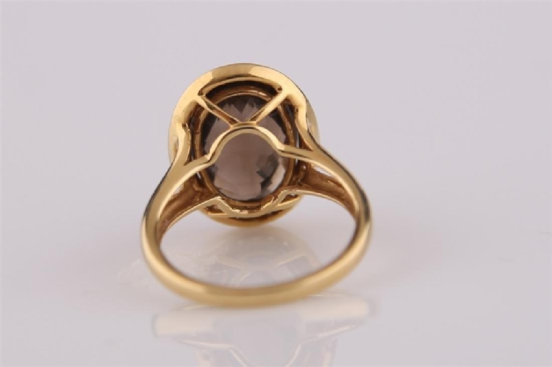 18kt Yellow Gold, Diamond, Smoky Quartz Ring - 4