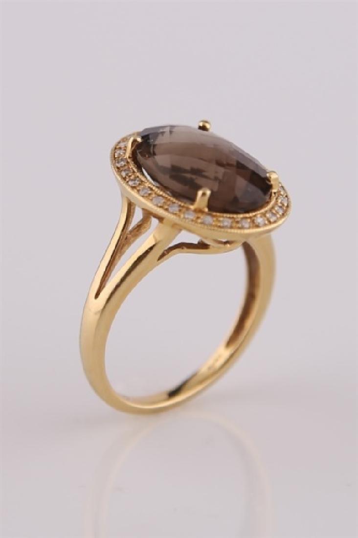 18kt Yellow Gold, Diamond, Smoky Quartz Ring - 5