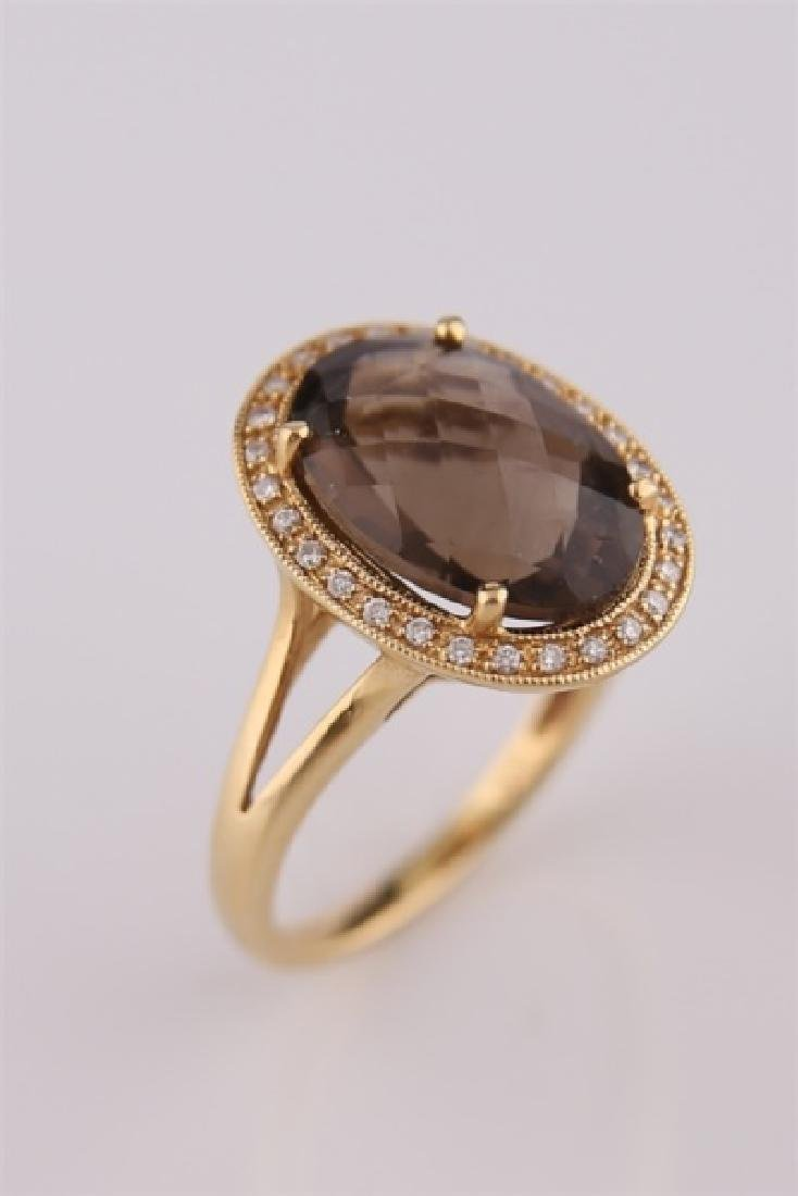 18kt Yellow Gold, Diamond, Smoky Quartz Ring - 6