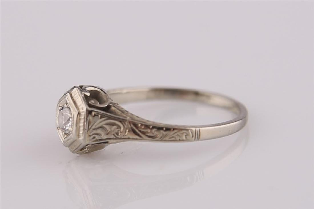 18kt White Gold Art Deco Ring with Diamond - 3