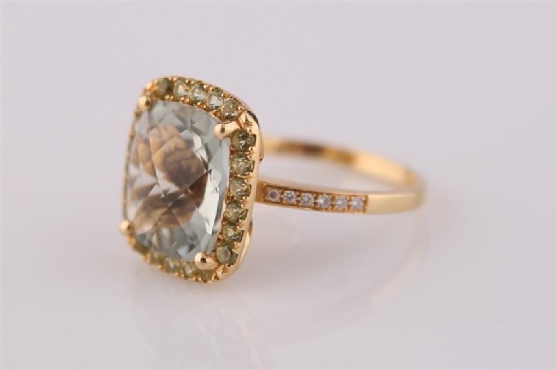 18kt Yellow Gold, Green Quartz, Peridot Ring