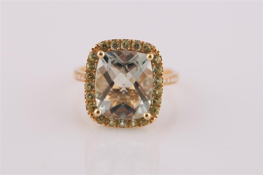18kt Yellow Gold, Green Quartz, Peridot Ring - 2