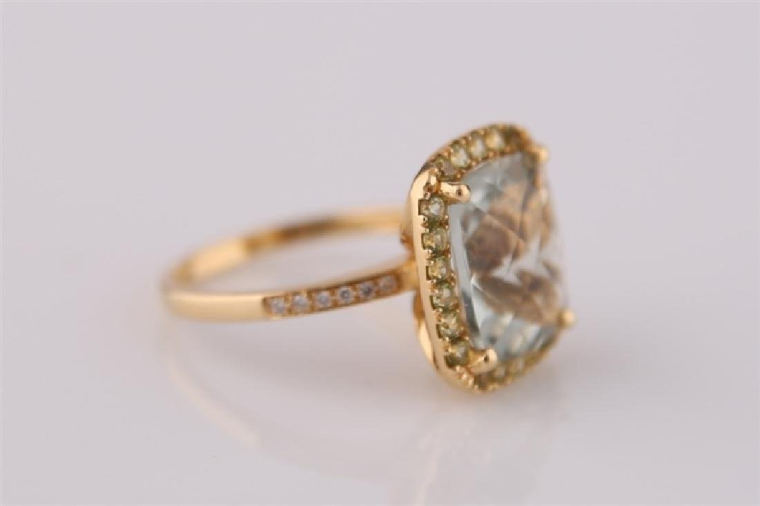 18kt Yellow Gold, Green Quartz, Peridot Ring - 3