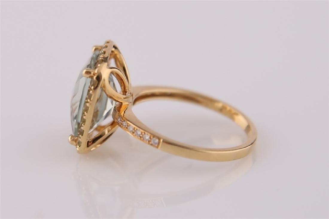 18kt Yellow Gold, Green Quartz, Peridot Ring - 4
