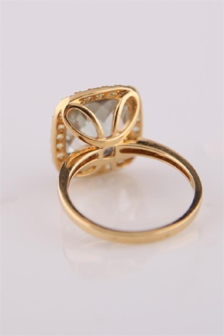 18kt Yellow Gold, Green Quartz, Peridot Ring - 5