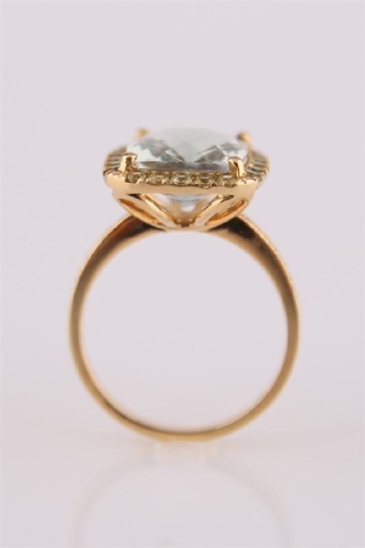 18kt Yellow Gold, Green Quartz, Peridot Ring - 6