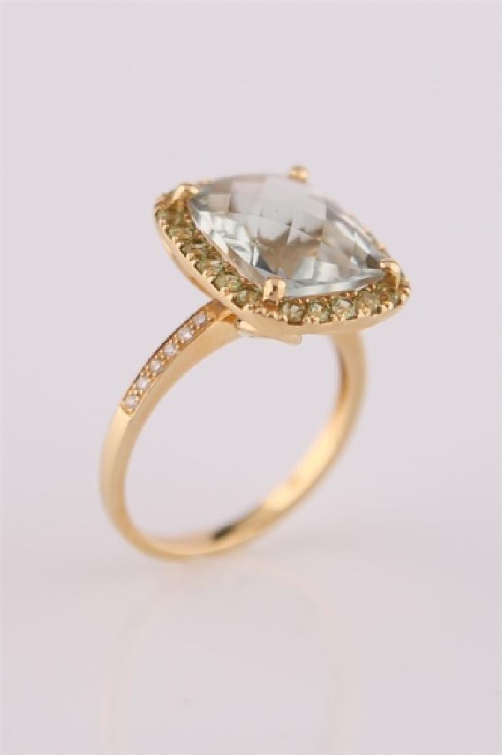 18kt Yellow Gold, Green Quartz, Peridot Ring - 7