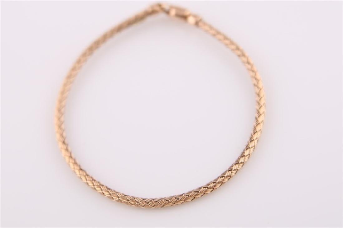 14kt Rose Gold Woven-Style Bracelet - 7