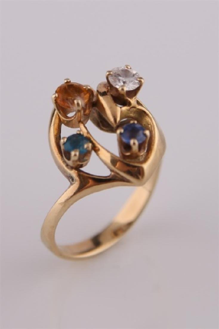 14kt Yellow Gold Mothers Ring - 5