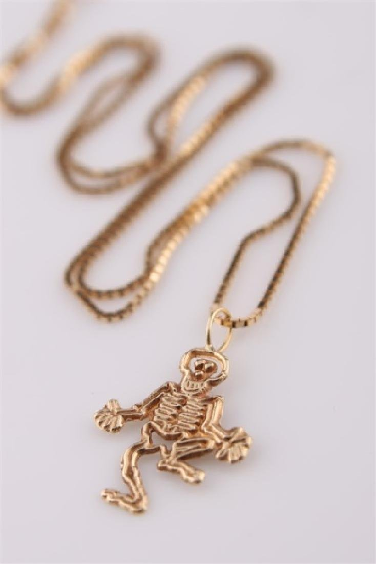 14kt Yellow Gold Necklace with Skeleton Pendant