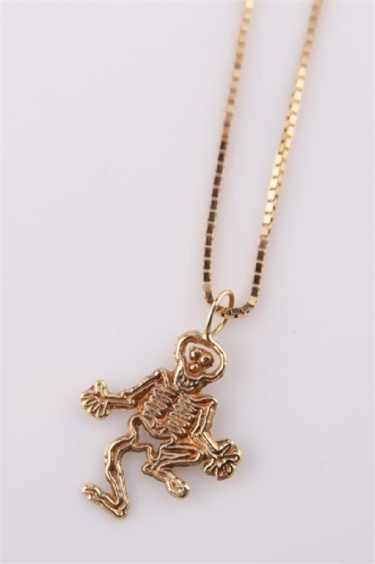 14kt Yellow Gold Necklace with Skeleton Pendant - 3