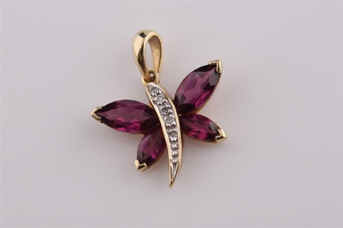 10kt Yellow Gold Purple Stone Butterfly