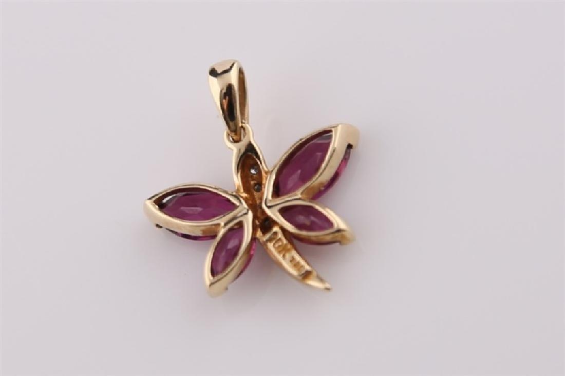 10kt Yellow Gold Purple Stone Butterfly - 2