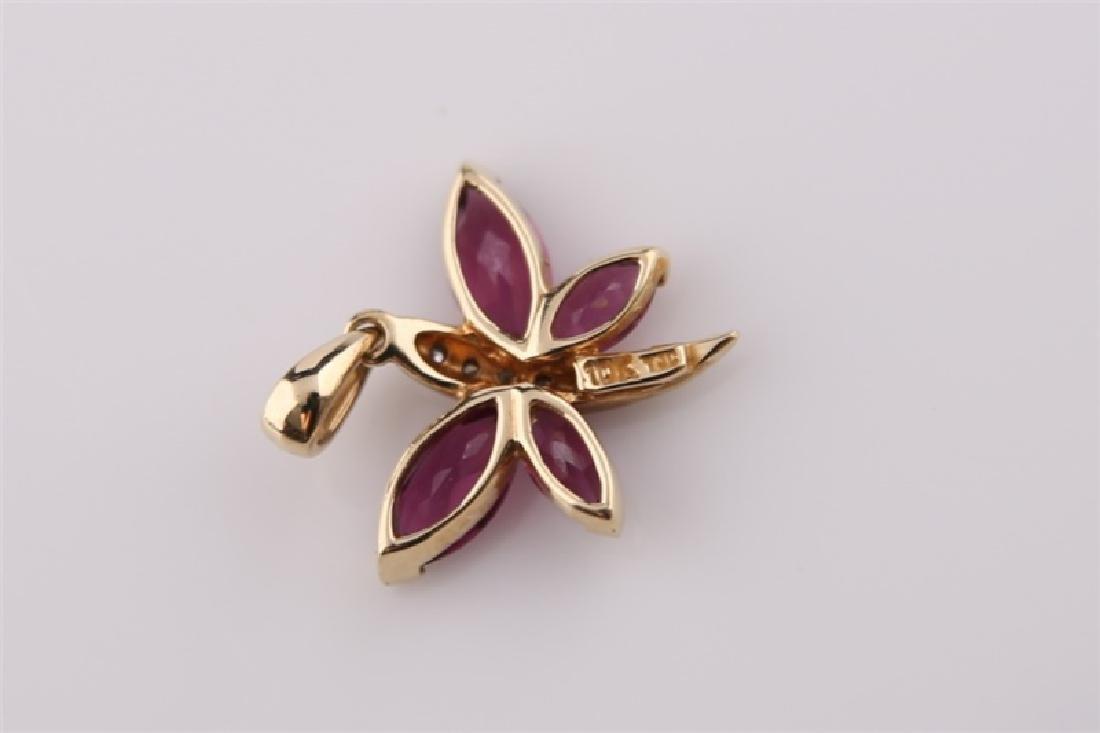 10kt Yellow Gold Purple Stone Butterfly - 3
