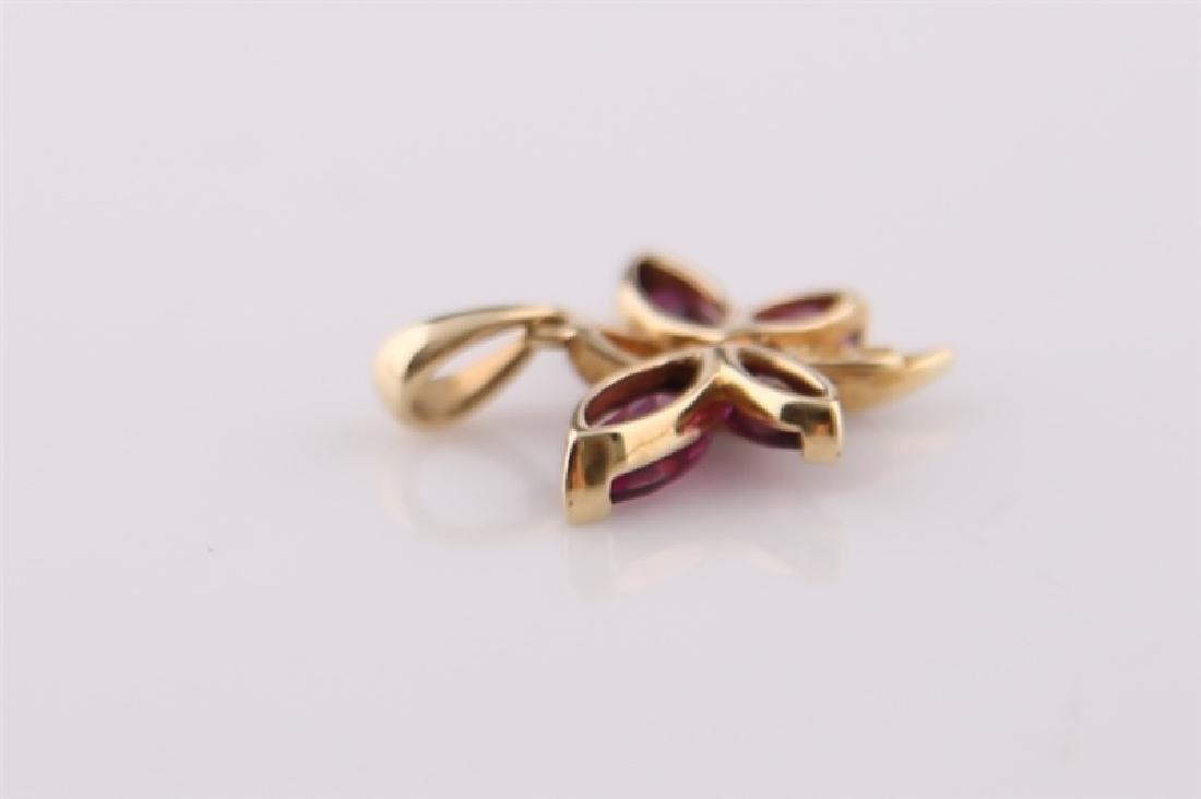 10kt Yellow Gold Purple Stone Butterfly - 4