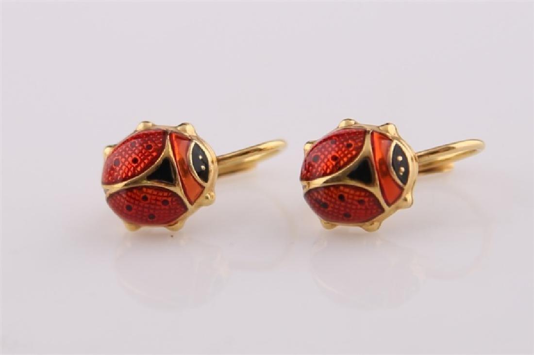 14kt Yellow Gold and Enamel Ladybug Earrings